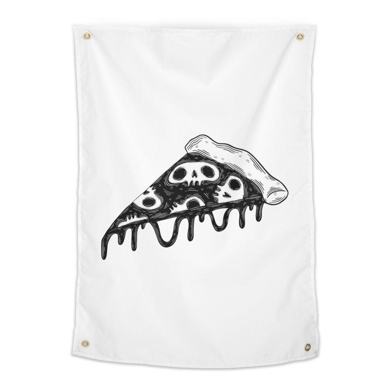 Skull pizza Home Tapestry by Behemot's doodles