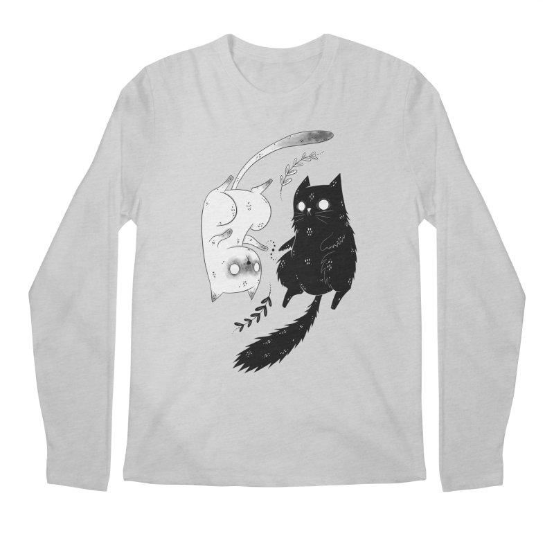 Yin and Yang cats Men's Longsleeve T-Shirt by Behemot's doodles
