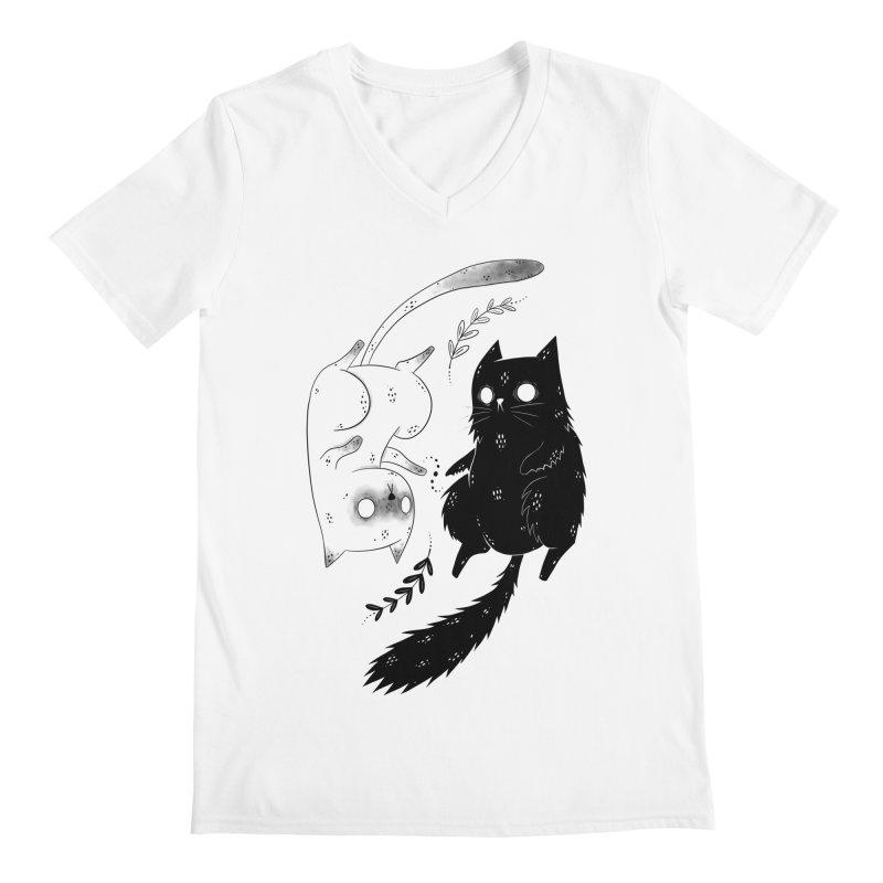 Yin and Yang cats Men's V-Neck by Behemot's doodles