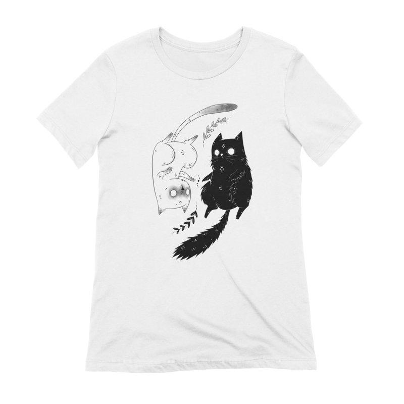 Yin and Yang cats Women's T-Shirt by Behemot's doodles