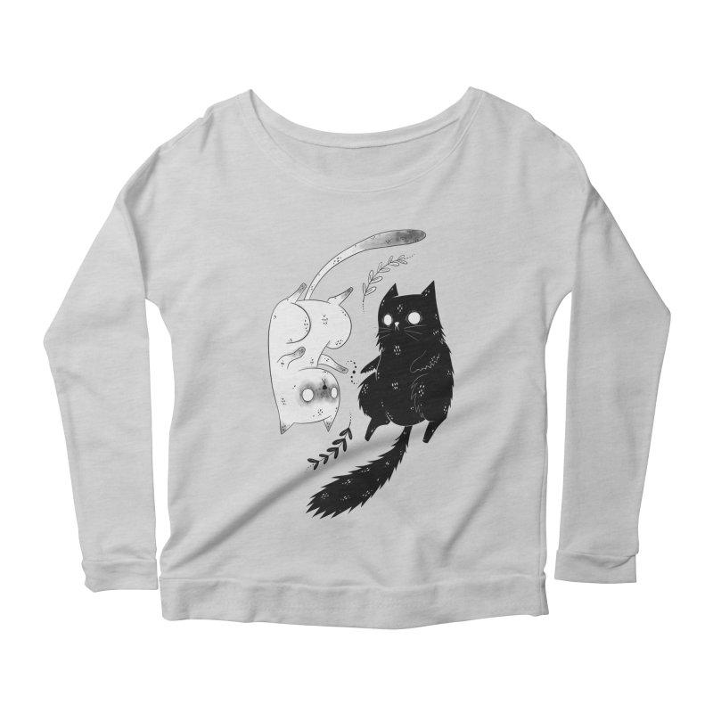 Yin and Yang cats Women's Longsleeve T-Shirt by Behemot's doodles
