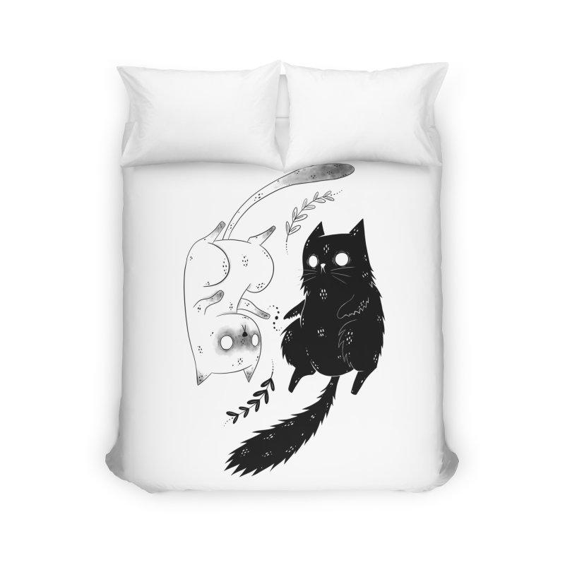 Yin and Yang cats Home Duvet by Behemot's doodles