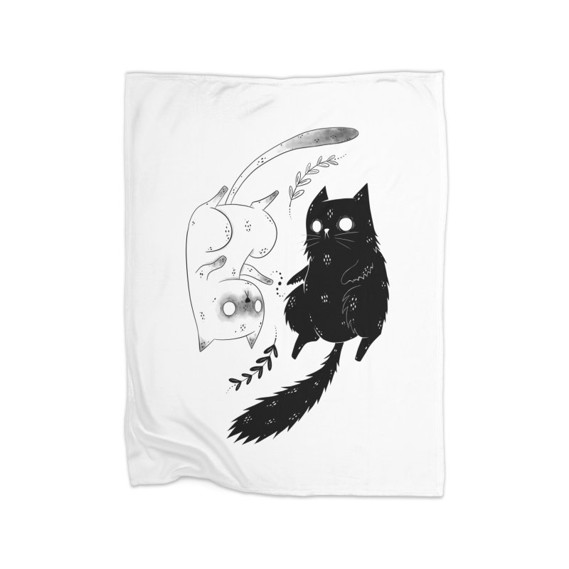 Yin and Yang cats Home Blanket by Behemot's doodles