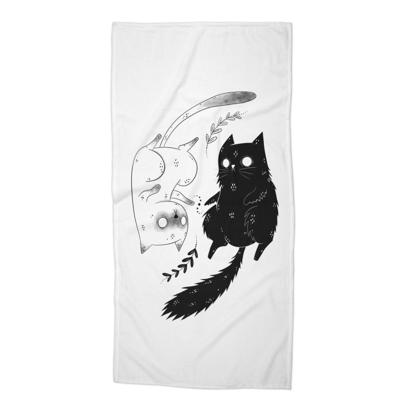 Yin and Yang cats Accessories Beach Towel by Behemot's doodles