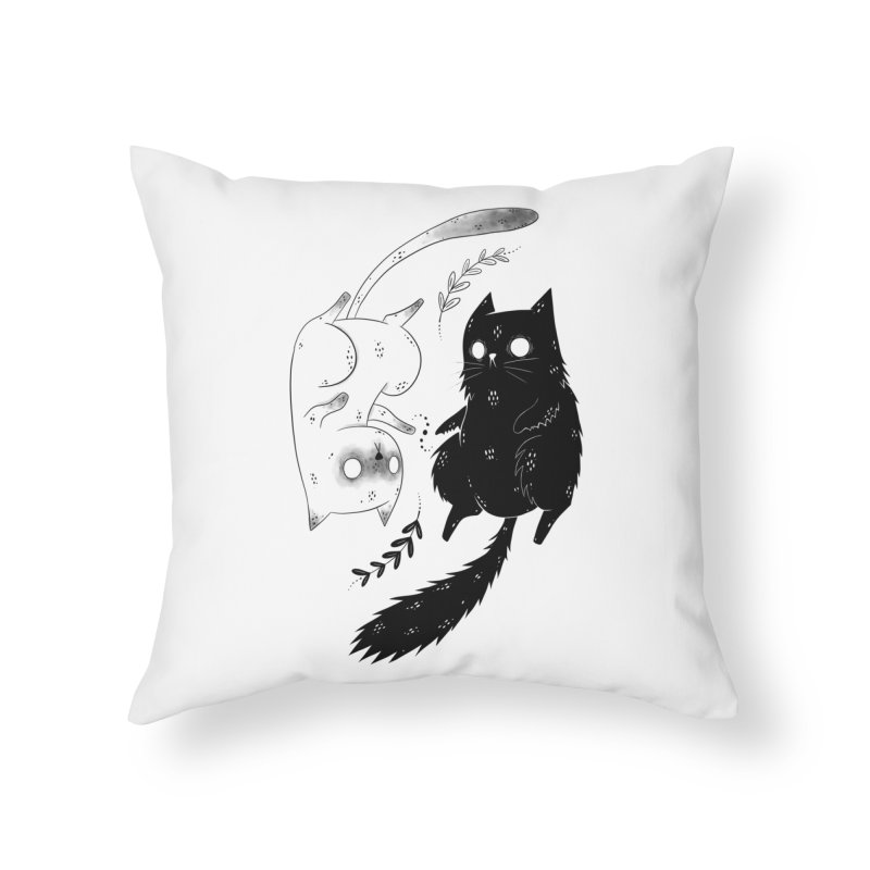 Yin and Yang cats Home Throw Pillow by Behemot's doodles