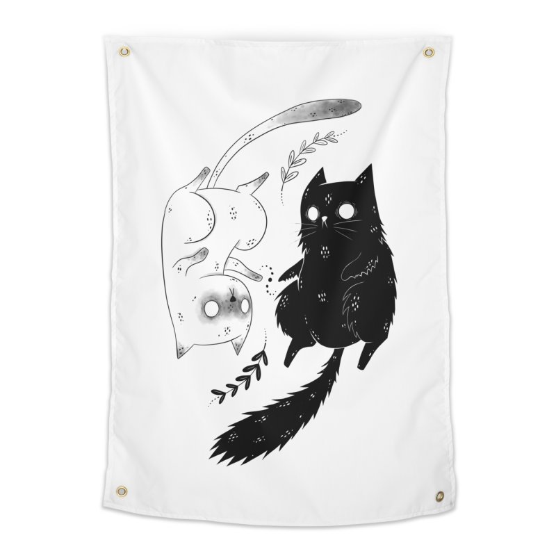 Yin and Yang cats Home Tapestry by Behemot's doodles