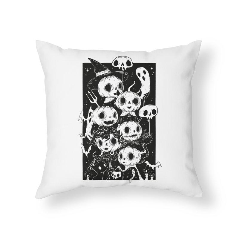 Pumpkin Kids Home Throw Pillow by Behemot's doodles