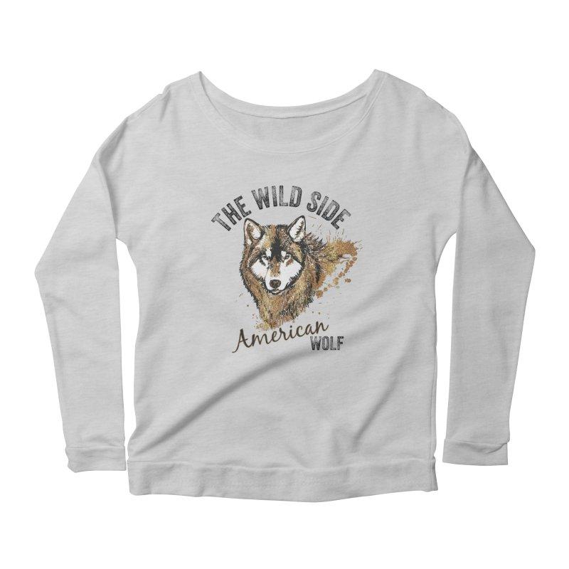 American Wolf Women's Longsleeve Scoopneck  by behindsky's Shop