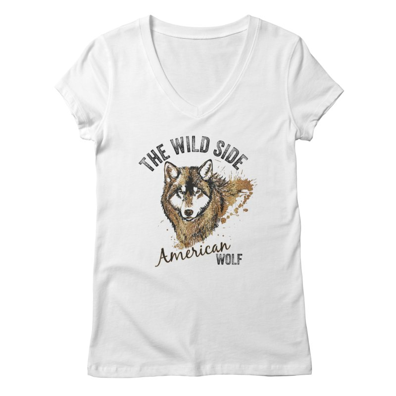 American Wolf Women's V-Neck by behindsky's Shop