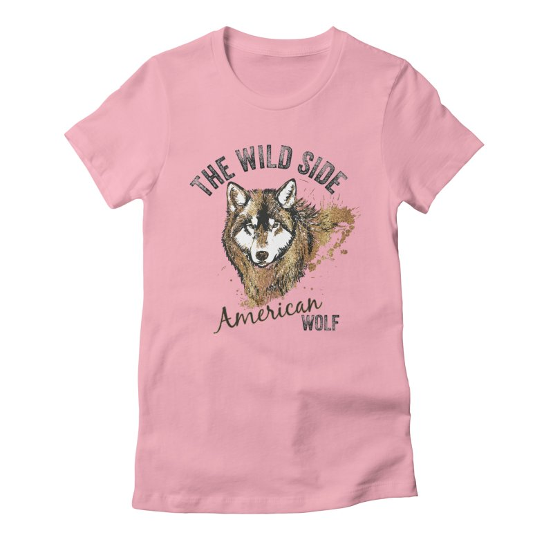 American Wolf Women's Fitted T-Shirt by behindsky's Shop