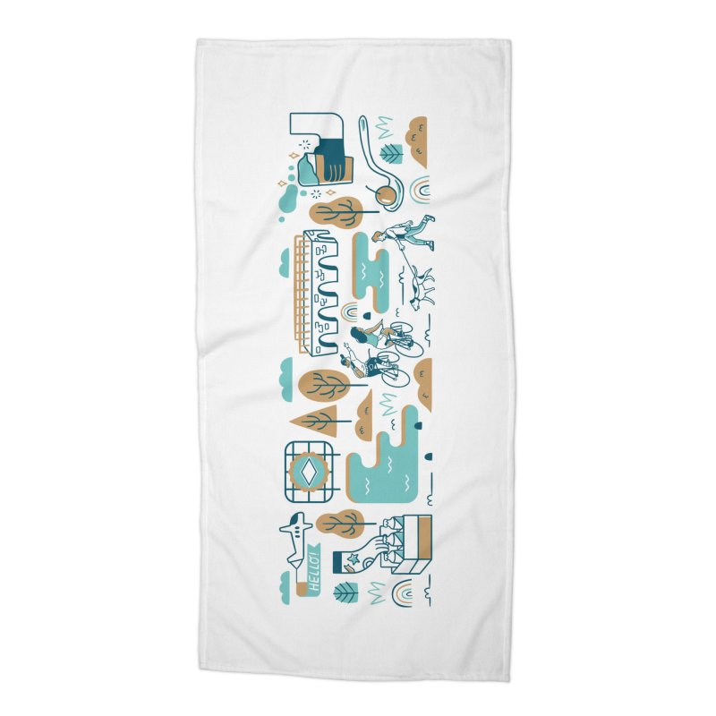 A Day in the Life Accessories Beach Towel by bellyup's Artist Shop