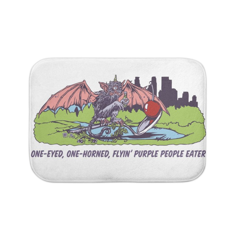 Flyin' Purple People Eater Home Bath Mat by bellyup's Artist Shop