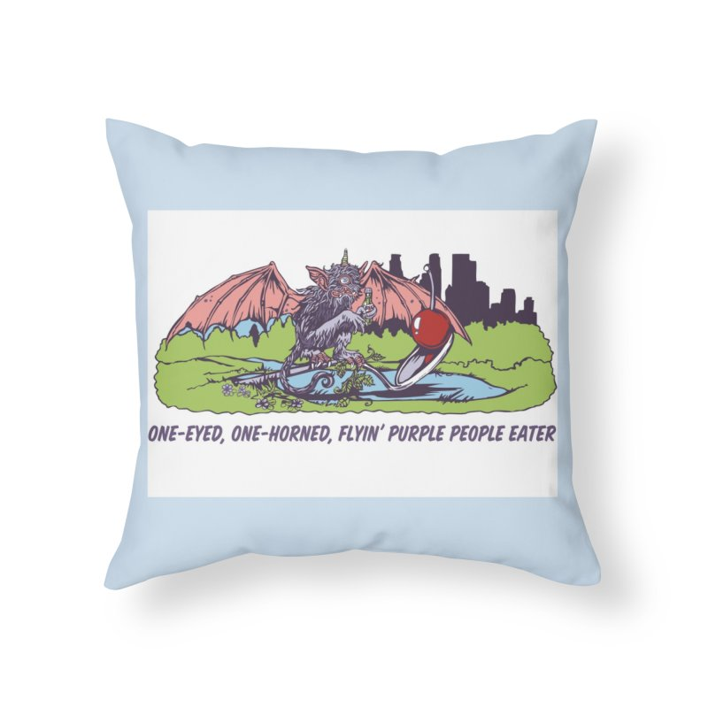 Flyin' Purple People Eater Home Throw Pillow by bellyup's Artist Shop
