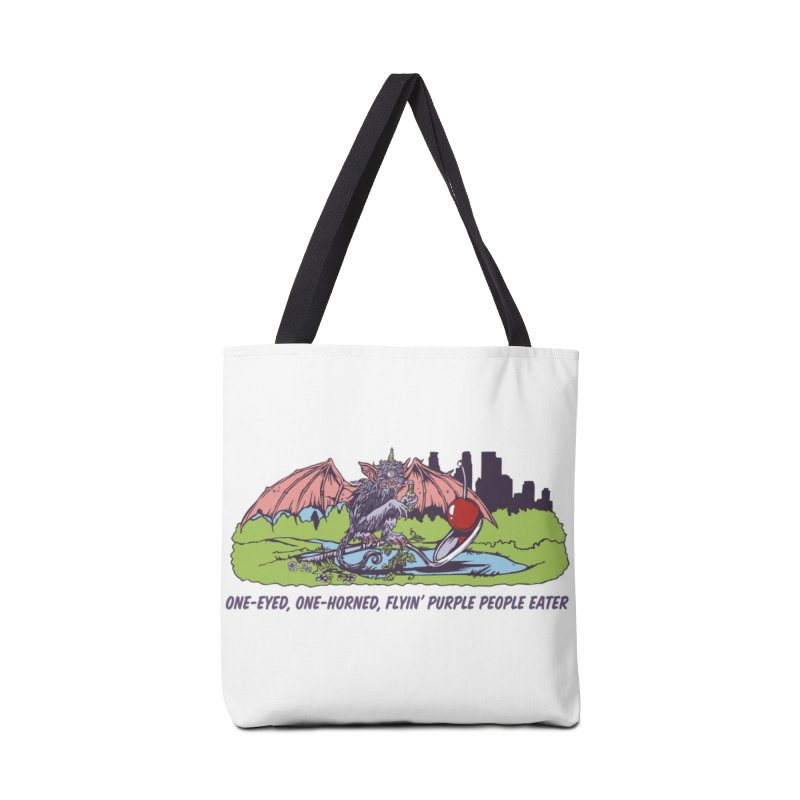 Flyin' Purple People Eater Accessories Tote Bag Bag by bellyup's Artist Shop