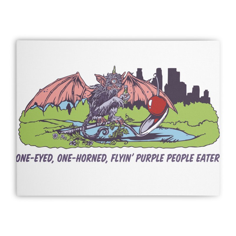 Flyin' Purple People Eater Home Stretched Canvas by bellyup's Artist Shop