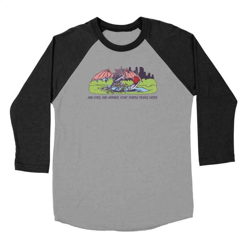 Flyin' Purple People Eater (Apparel) Women's Baseball Triblend Longsleeve T-Shirt by bellyup's Artist Shop