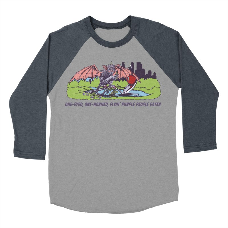 Flyin' Purple People Eater (Apparel) Women's Baseball Triblend Longsleeve T-Shirt by bellyup's Artist Shop