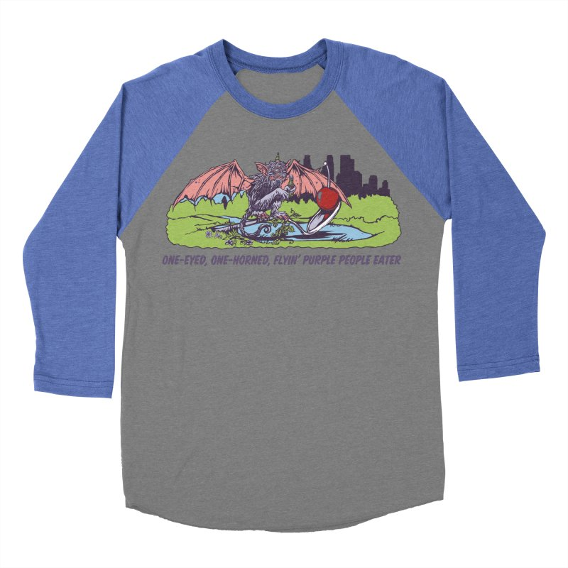 Flyin' Purple People Eater (Apparel) Men's Baseball Triblend Longsleeve T-Shirt by bellyup's Artist Shop
