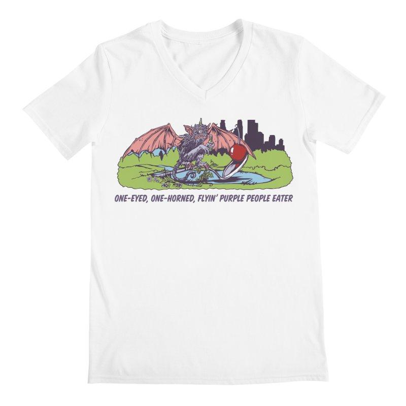 Flyin' Purple People Eater (Apparel) Men's V-Neck by bellyup's Artist Shop