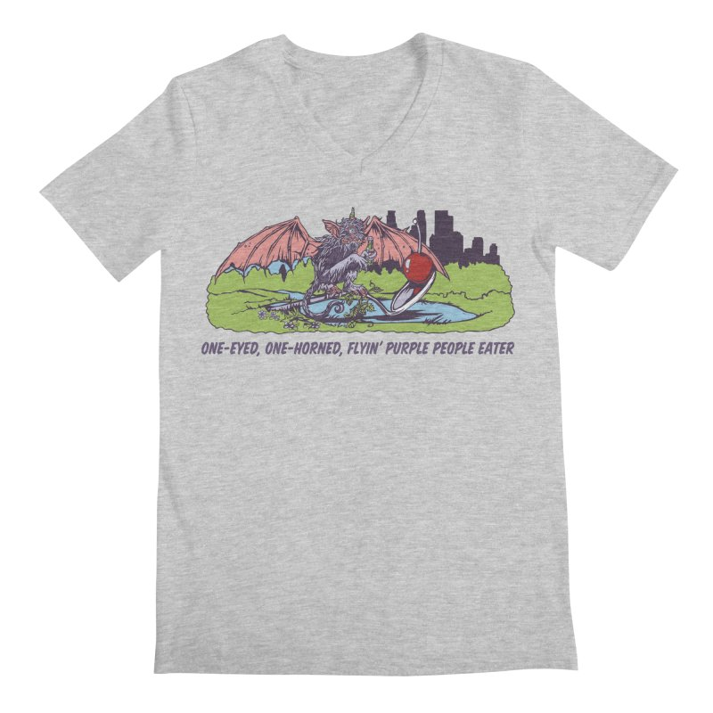 Flyin' Purple People Eater (Apparel) Men's V-Neck by bellyup's Artist Shop