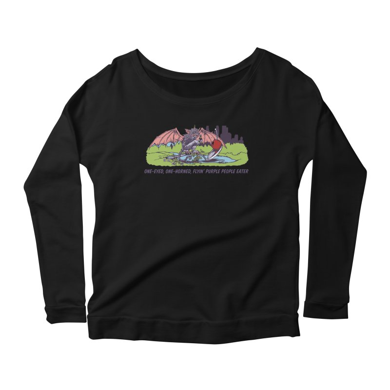 Flyin' Purple People Eater (Apparel) Women's Scoop Neck Longsleeve T-Shirt by bellyup's Artist Shop