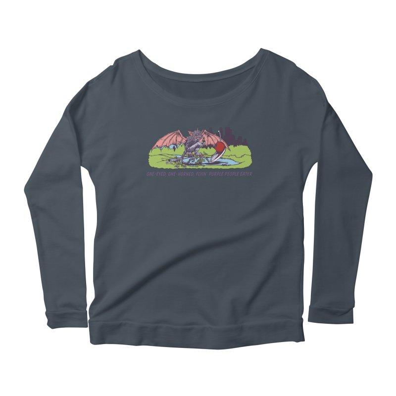 Flyin' Purple People Eater (Apparel) Women's Scoop Neck Longsleeve T-Shirt by bellyup's Artist Shop
