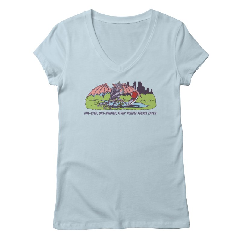 Flyin' Purple People Eater (Apparel) Women's Regular V-Neck by bellyup's Artist Shop