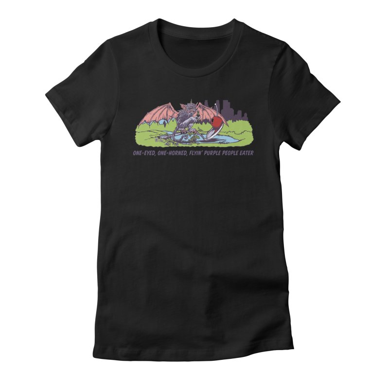 Flyin' Purple People Eater (Apparel) Women's Fitted T-Shirt by bellyup's Artist Shop