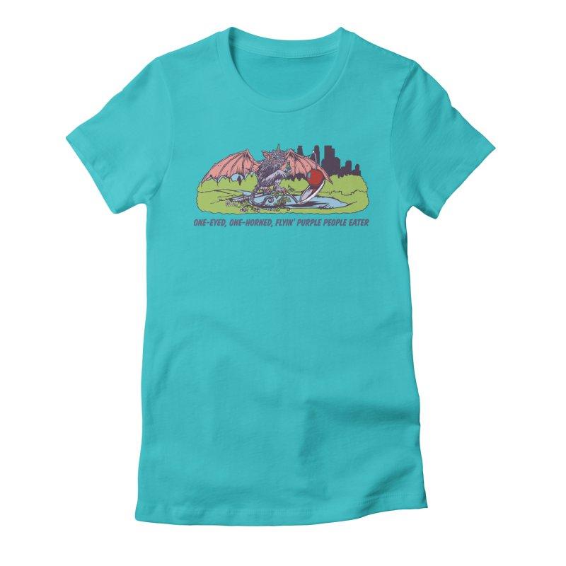 Flyin' Purple People Eater (Apparel) Women's Fitted T-Shirt by bellyup's Artist Shop