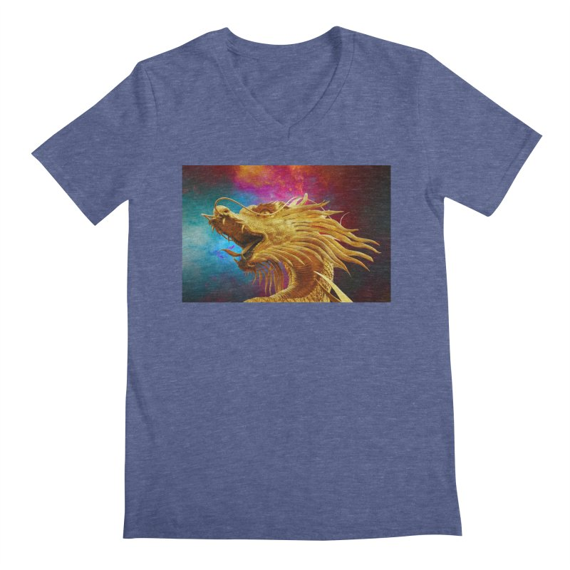 Golden Dragon Men's V-Neck by The B.E.M.G. COLLECTION