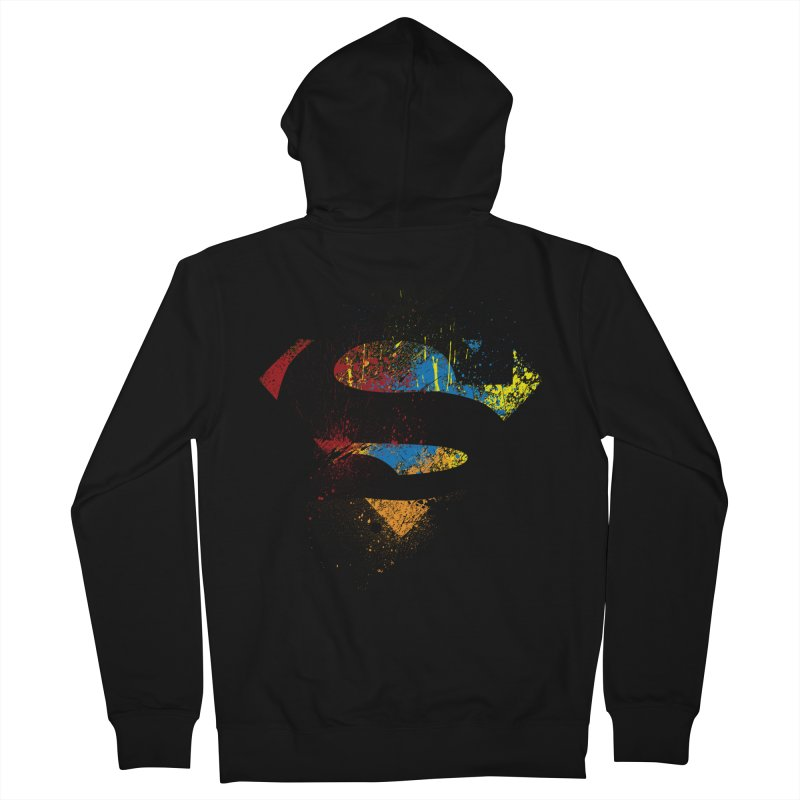superman brushpaint symbol Men's Zip-Up Hoody by ben35dan's Artist Shop