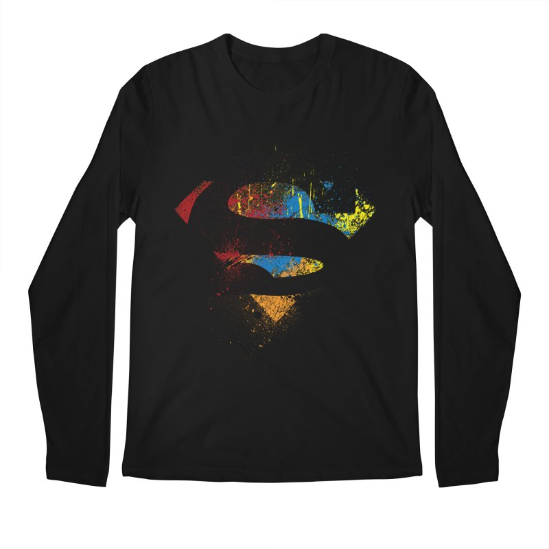 superman brushpaint symbol Men's Longsleeve T-Shirt by ben35dan's Artist Shop