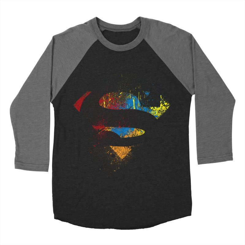 superman brushpaint symbol Men's Baseball Triblend T-Shirt by ben35dan's Artist Shop
