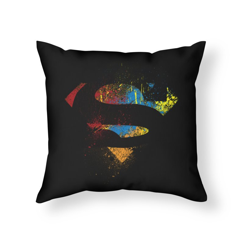 superman brushpaint symbol Home Throw Pillow by ben35dan's Artist Shop