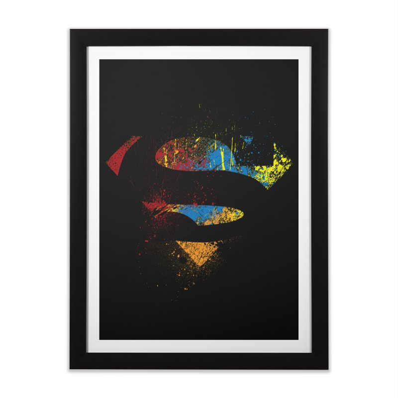 superman brushpaint symbol Home Framed Fine Art Print by ben35dan's Artist Shop