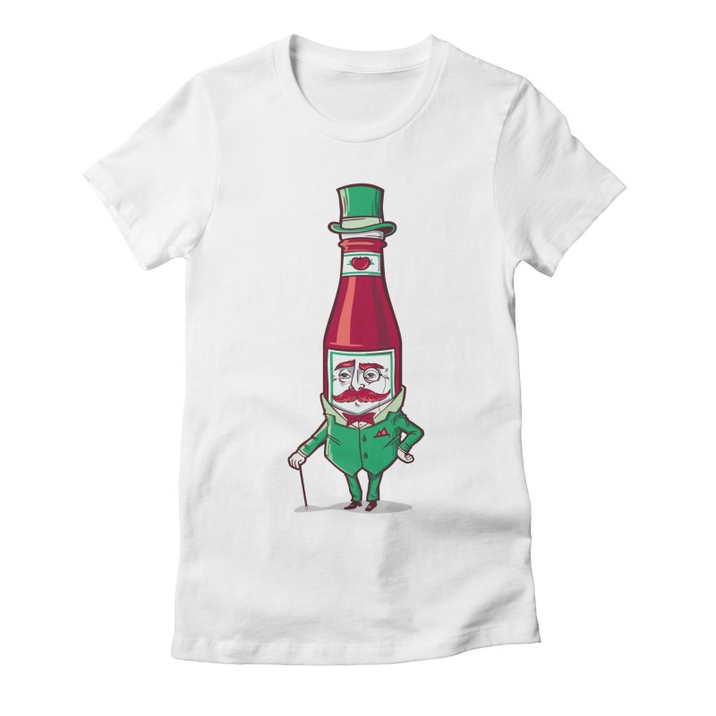 Sir Fancy Ketchup Women's Fitted T-Shirt by Ben Douglass