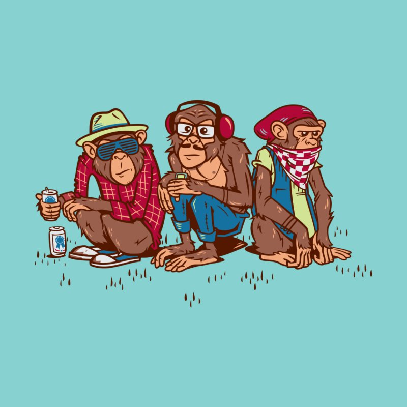 Three Wise Hipster Monkeys Home Throw Pillow by Ben Douglass