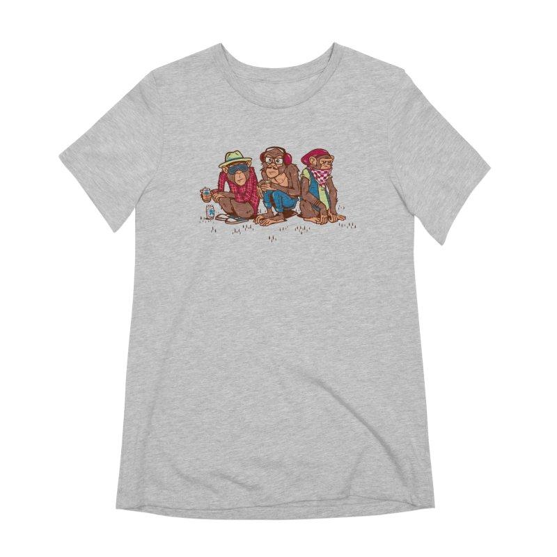Three Wise Hipster Monkeys Women's Extra Soft T-Shirt by Ben Douglass
