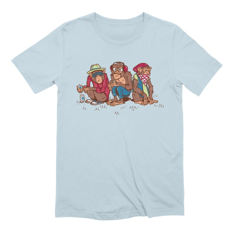 Three Wise Hipster Monkeys Men's Extra Soft T-Shirt by Ben Douglass