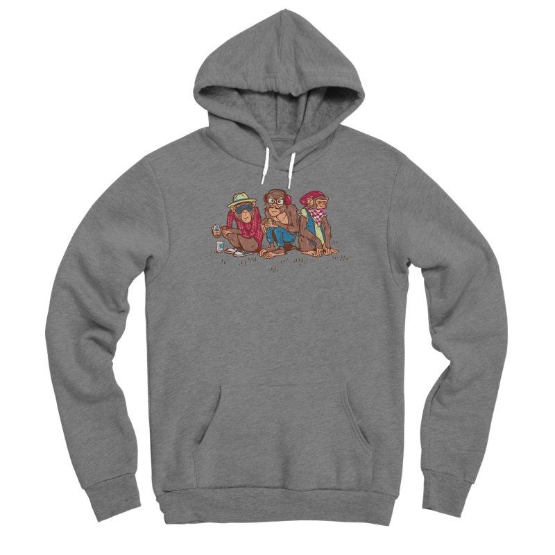 Three Wise Hipster Monkeys Women's Sponge Fleece Pullover Hoody by Ben Douglass