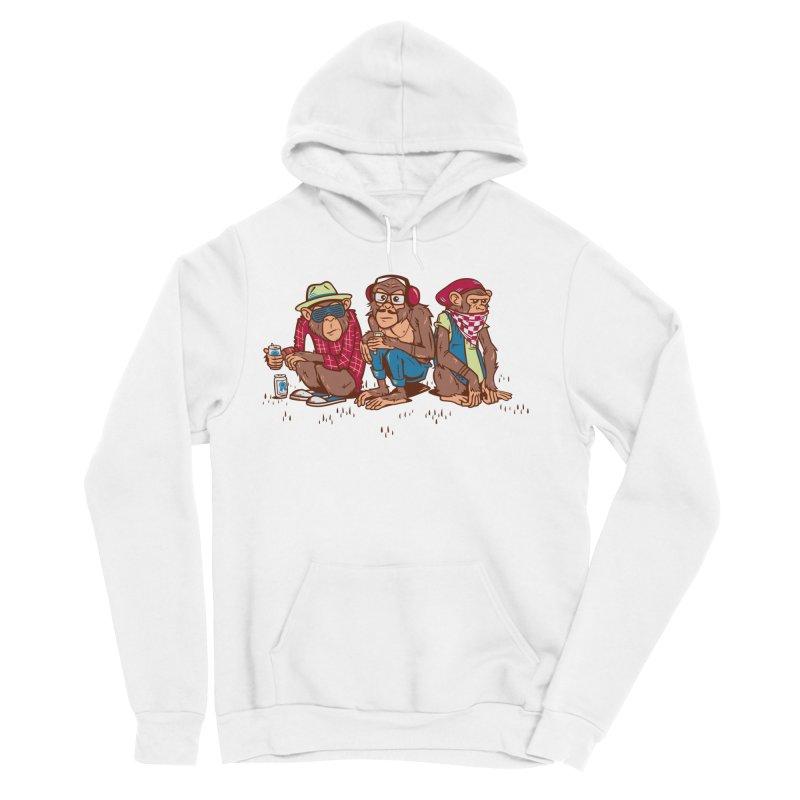 Three Wise Hipster Monkeys Men's Sponge Fleece Pullover Hoody by Ben Douglass