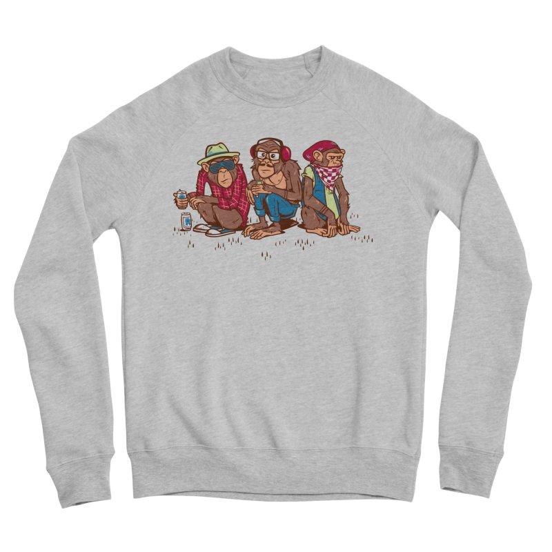 Three Wise Hipster Monkeys Women's Sponge Fleece Sweatshirt by Ben Douglass