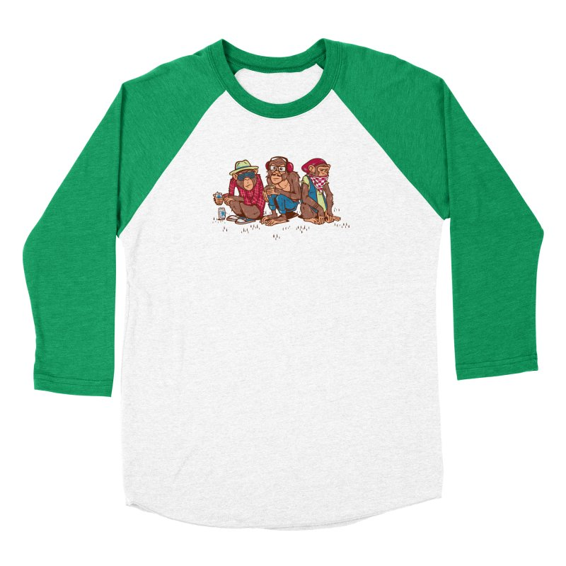 Three Wise Hipster Monkeys Women's Baseball Triblend Longsleeve T-Shirt by Ben Douglass