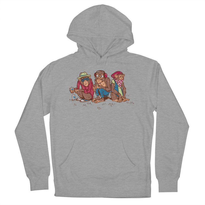 Three Wise Hipster Monkeys Women's French Terry Pullover Hoody by Ben Douglass