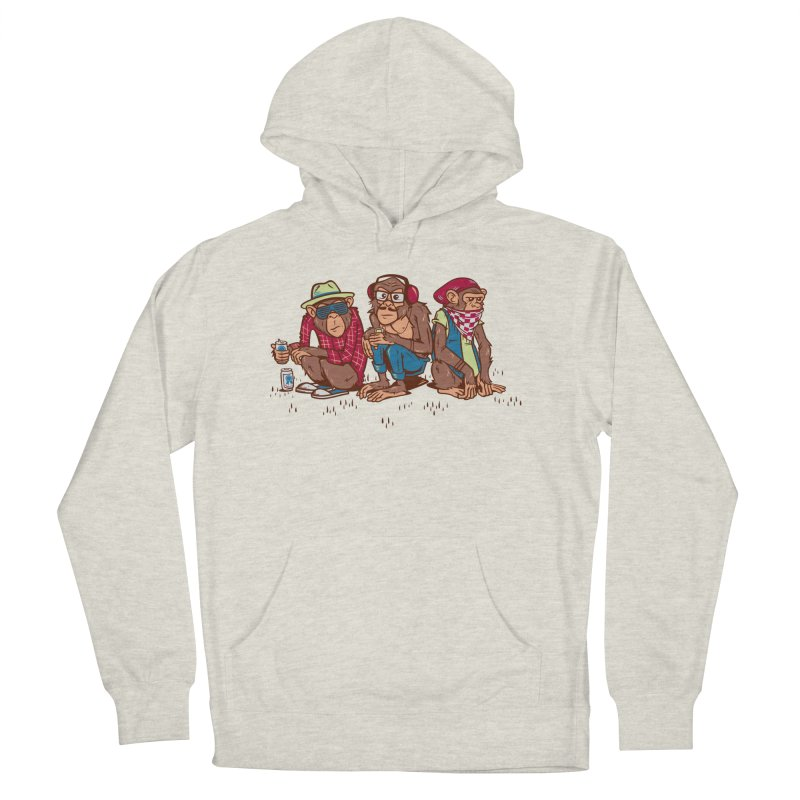 Three Wise Hipster Monkeys Men's French Terry Pullover Hoody by Ben Douglass