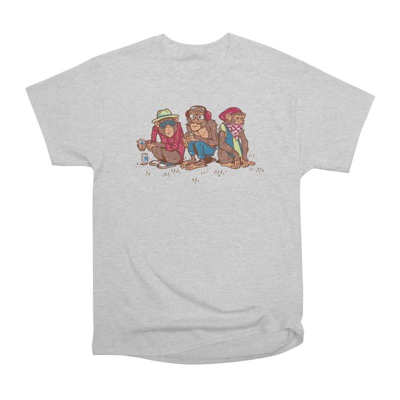 Three Wise Hipster Monkeys Men's Heavyweight T-Shirt by Ben Douglass