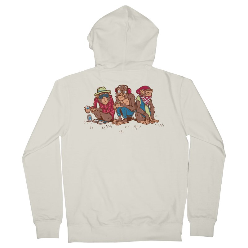 Three Wise Hipster Monkeys Men's French Terry Zip-Up Hoody by Ben Douglass