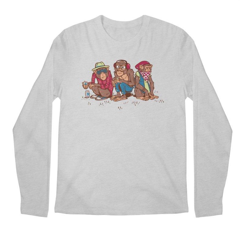 Three Wise Hipster Monkeys Men's Longsleeve T-Shirt by Ben Douglass