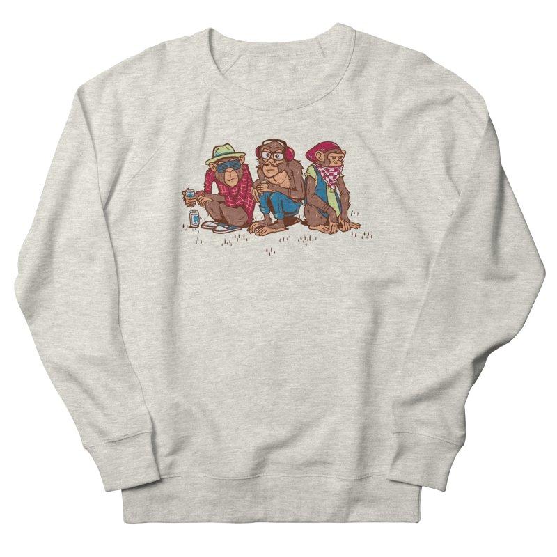 Three Wise Hipster Monkeys Women's French Terry Sweatshirt by Ben Douglass