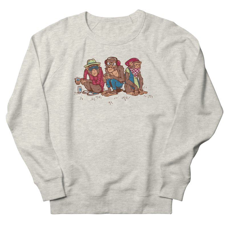 Three Wise Hipster Monkeys Men's French Terry Sweatshirt by Ben Douglass